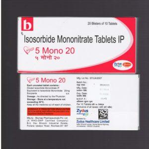 Isosorbide Mononitrate Tablets 5 Mono 20