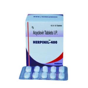 Acyclovir IP 400mg Tablet Herpinil